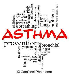 concept, asthme, casquettes, nuage, mot, rouges