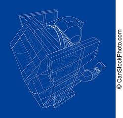 concept., astronauta, vector, interpretación, 3d