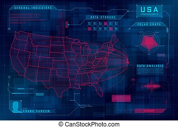 concept., ataque, elements., cyberattack, debajo, callout, error, sistema, mapa, cybersecurity, diseño determinado, hud, system., ddos, vector, usa., amenaza