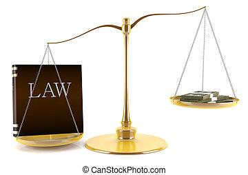 concept, au-dessus, droit & loi