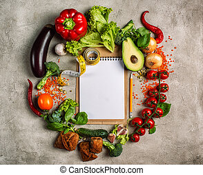 concept, authentique, nourriture saine, fond, vegetable.