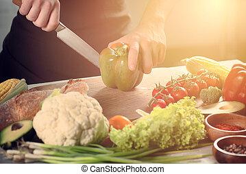 concept, authentique, vegetables., nourriture, travail, chef cuistot