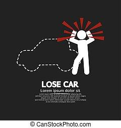 concept, auto, grafisch, symbool., verliezen