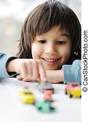 concept, auto, -, kindertijd, speelbal, onschuld, spelend