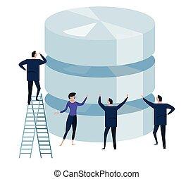 concept, autour de, business, base données, diriger, grand, gens, stockage, grand, team., data., petit, technologie