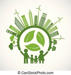concept, autour de, famille, feuilles, idées, ambiant, écologie, vert, eco-amical, mondiale, villes, aide