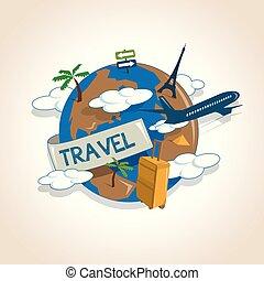 concept, autour de, globe, voyage, voyager, avion