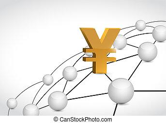 concept, autour de, yen, monnaie, lien, mondiale