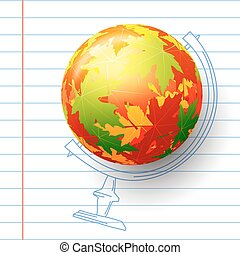 Concept autumn school. Child's drawing in the notebook. Sphere of autumn maple leaves,