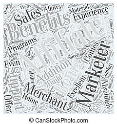 concept, avantages, être, affiliate, mot, promoteur, nuage