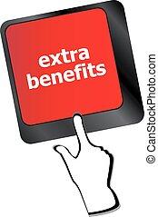 concept, avantages, business, supplémentaire, bouton, -, vecteur, clavier