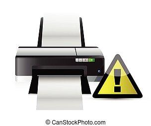 concept, avertissement, imprimante, signe