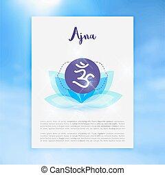 concept, ayurvedic, symbole, chakra, bouddhisme, hindouisme, icône, ajna
