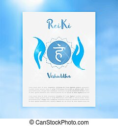 concept, ayurvedic, symbole, chakra, bouddhisme, hindouisme, vishuddha, icône