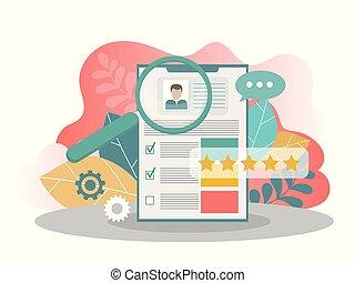 concept., búsqueda, trabajo, forma, reclutamiento, ...