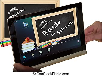 Concept Back to School on Tablet Screen