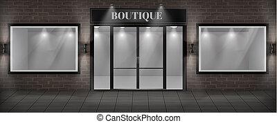 boutique shop facade with signboard