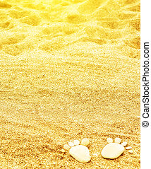 footprints of stones on yellow sand on the beach in summer