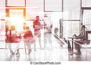 Business people working in the modern office. Double exposure effects
