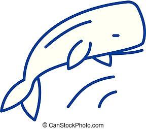 concept., ballena, línea, vector, símbolo, plano, icono, señal, contorno, illustration.