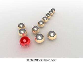 concept balls forming arrow