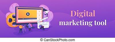 concept., bandiera, video, web, contenuto, marketing