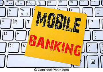 concept, banking., affaires endiguant, mobile, internet, note collante, arrière-plan., écrit, papier, e-banque, clavier, blanc