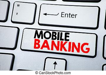 concept, banking., e-banque, business, mobile, texte, projection, internet, space., écriture, sommet, banque, écrit, clã©, clavier, vue., copie, blanc
