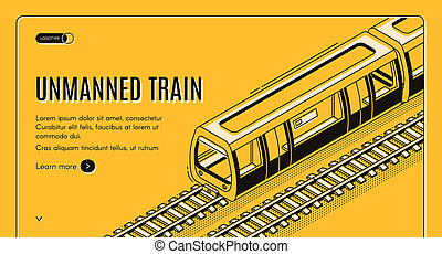 concept banner with unmanned electric train