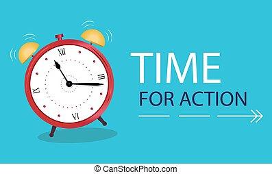 concept, bannière, action., temps, reveil, business, horloge, arrière-plan., bleu