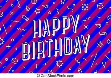 concept, bannière, carte, affiche, autocollant, salutation, birthday., heureux