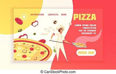 concept, bannière, pizza