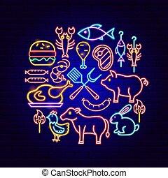 concept, barbecue, néon