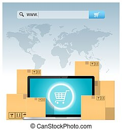 concept, barre, ordinateur portable, e-commerce, boîtes, informatique, au-dessus, adresse, carton