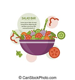 concept, barre, salade