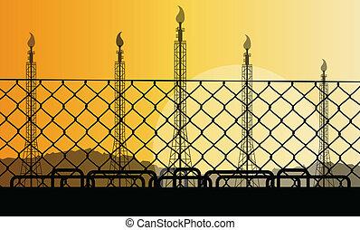 concept, barrière, usine, illustration, raffinerie, vecteur,...