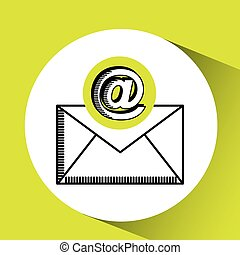 concept, bavarder, courrier, message, email, icône