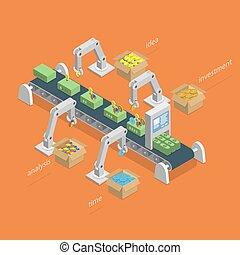 concept., bearbeta, tillverkning, isometric, pengar