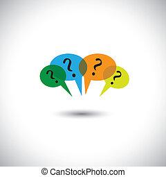 concept, &, beaucoup, gens, -, vecteur, parole, bavarder, questions., bulles