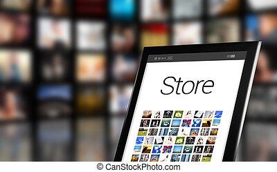 concept, beaucoup, magasin, tablette, icônes