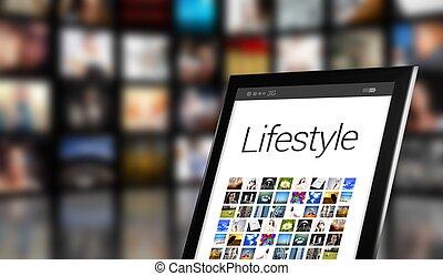 concept, beaucoup, style de vie, tablette, icônes