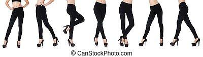 concept, beauté, isolé, mode, jambières, noir, blanc