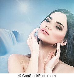 concept, beauté naturelle, femme, backgrounds., portrait, spa, masage