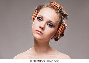 concept, beauty, makeup, vrijstaand, grijs haar, achtergrond, mode, behandeling, modieus, verticaal, meisje, curlers