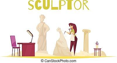 concept, beeldhouwer, illustratie