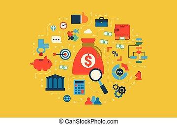 concept, begroting, illustratie