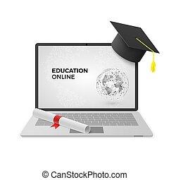 concept., berretto, illustrazione, vettore, graduazione, linea, diploma., educazione, laptop