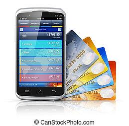 concept, beweeglijk, financiën, bankwezen