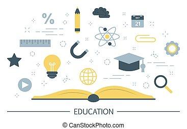 concept., bildung, kenntnis, lernen, idee