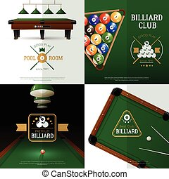 concept, billard, ensemble, icônes